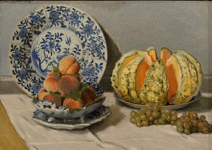 Nature morte au melon (Monet, vers 1872)