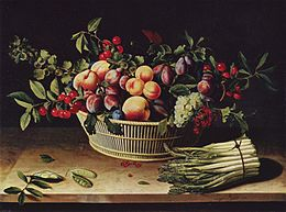Nature morte aux fruits et asperges (Louise Moillon, 1630)